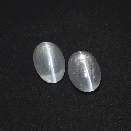 Clear White Sillimanite Cat's Eye Gem - 1ct Oval Cabochon (ID: 410071)