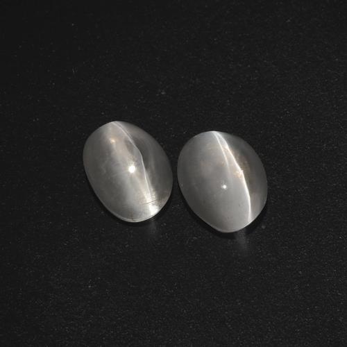Clear White Sillimanite Cat's Eye Gem - 1.1ct Oval Cabochon (ID: 410076)