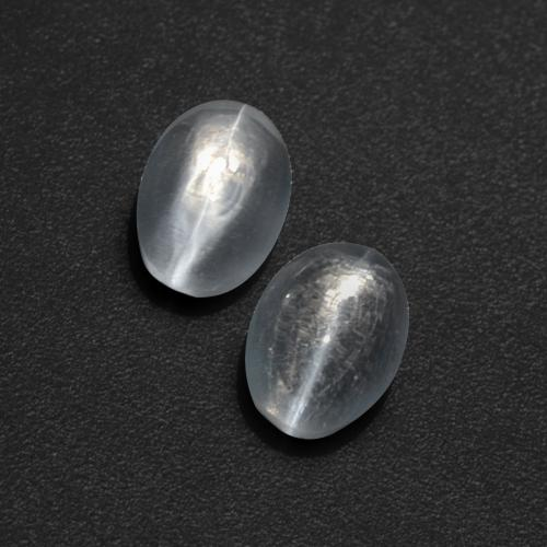 Clear White Sillimanite Cat's Eye Gem - 0.9ct Oval Cabochon (ID: 410293)