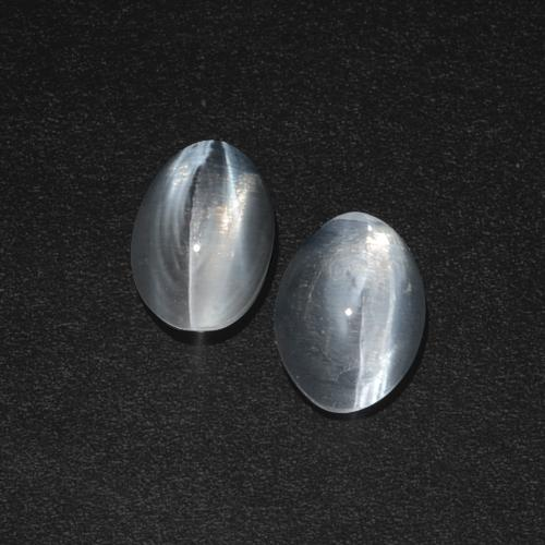 Clear White Sillimanite Cat's Eye Gem - 1.2ct Oval Cabochon (ID: 410348)