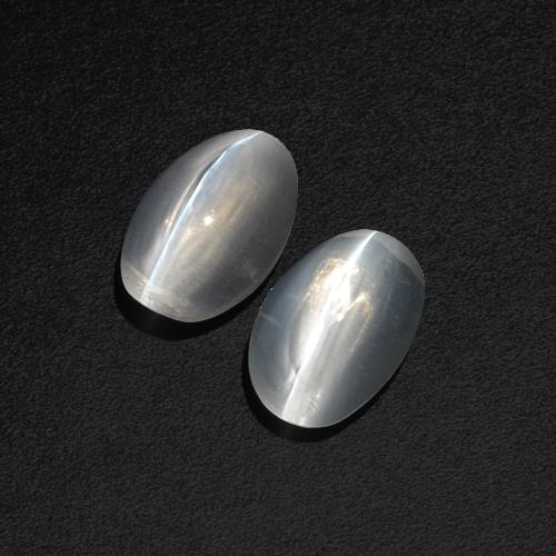 Clear White Sillimanite Cat's Eye Gem - 1.2ct Oval Cabochon (ID: 410350)