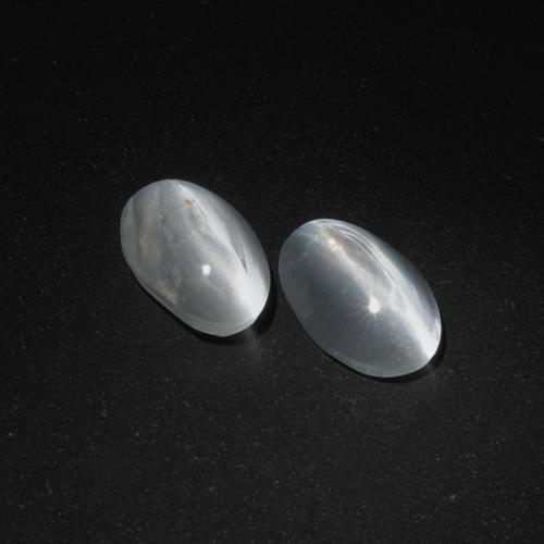 Clear White Sillimanite Cat's Eye Gem - 1.1ct Oval Cabochon (ID: 410401)