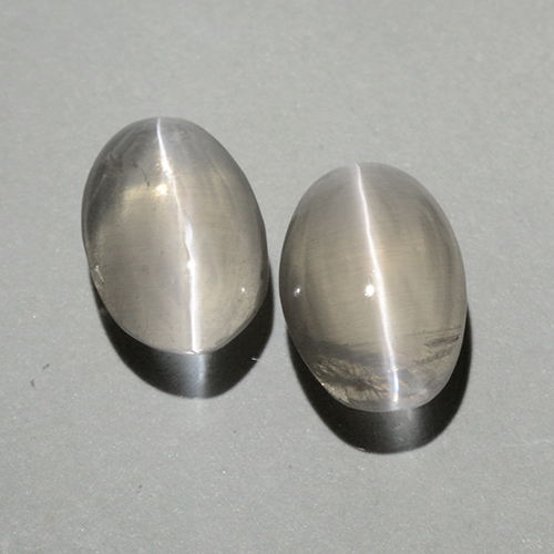Warm White Sillimanite Cat's Eye Gem - 1ct Oval Cabochon (ID: 499379)