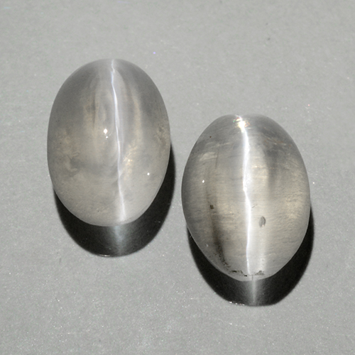 Warm White Sillimanite Cat's Eye Gem - 1ct Oval Cabochon (ID: 499384)
