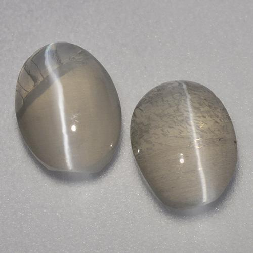 Smoke Sillimanite Cat's Eye Gem - 1ct Oval Cabochon (ID: 499413)