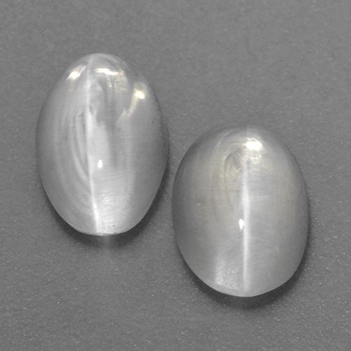White Sillimanite Cat's Eye Gem - 1ct Oval Cabochon (ID: 520150)