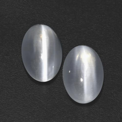 White Sillimanite Cat's Eye Gem - 1.2ct Oval Cabochon (ID: 533539)