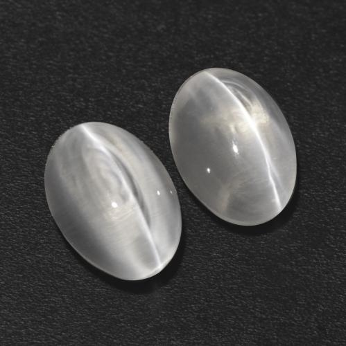 Clear White Sillimanite Cat's Eye Gem - 1.1ct Oval Cabochon (ID: 533540)