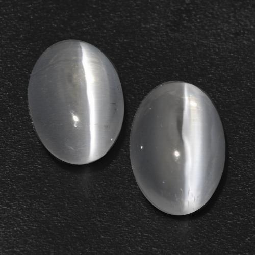 Clear White Sillimanite Cat's Eye Gem - 0.7ct Oval Cabochon (ID: 533541)