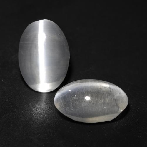Clear White Sillimanite Cat's Eye Gem - 1ct Oval Cabochon (ID: 537140)
