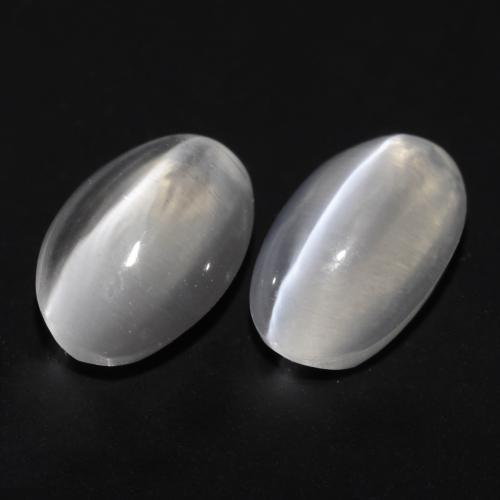 White Sillimanite Cat's Eye Gem - 0.9ct Oval Cabochon (ID: 537142)