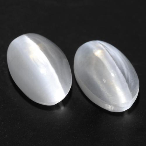 White Sillimanite Cat's Eye Gem - 1.1ct Oval Cabochon (ID: 537146)