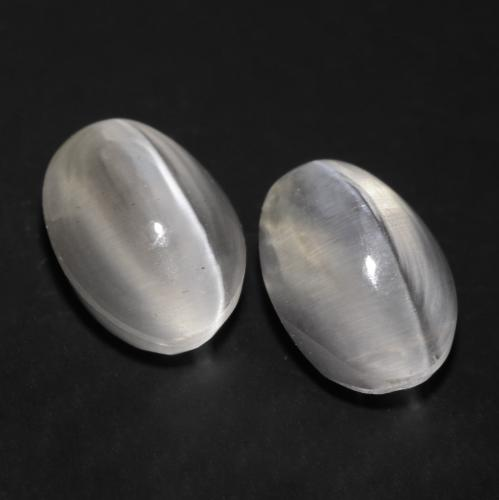 Very Light Grey Sillimanite Cat's Eye Gem - 1.2ct Oval Cabochon (ID: 537149)