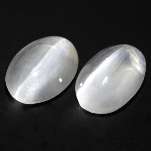 White Sillimanite Cat's Eye Gem - 1.2ct Oval Cabochon (ID: 537150)