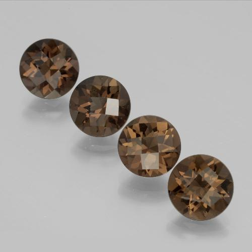 Brown Smoky Quartz Gem - 1.7ct Round Checkerboard (ID: 398717)