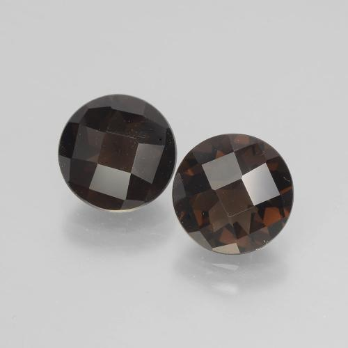 Brown Smoky Quartz Gem - 1.7ct Round Checkerboard (ID: 398802)