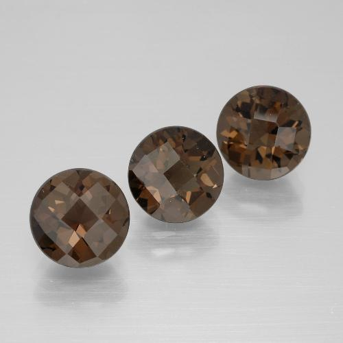 Medium Brown Cuarzo Ahumado Gema - 1.8ct Tablero de Ajedrez Redondo (ID: 398853)