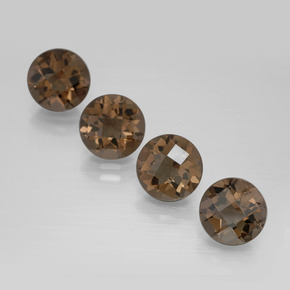 Brown Smoky Quartz Gem - 1.7ct Round Checkerboard (ID: 398860)