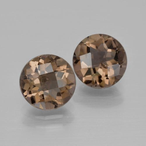 Brown Smoky Quartz Gem - 1.7ct Round Checkerboard (ID: 400368)