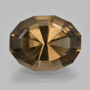Medium-Dark Brown 烟晶 Gem - 14.1ct 椭圆形混合切割 (ID: 404441)