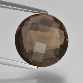 Brown Smoky Quartz Gem - 5.2ct Round Checkerboard (double sided) (ID: 416678)