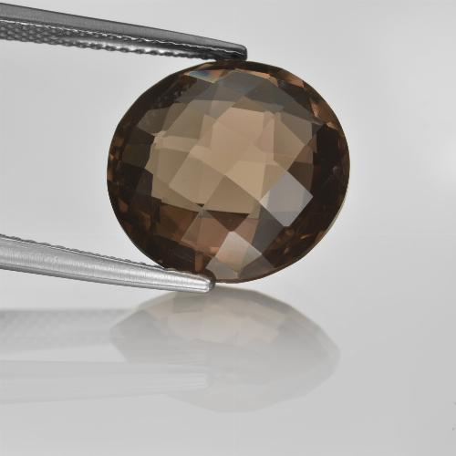 8.1ct Round Checkerboard (double sided) Brown Smoky Quartz Gem (ID: 416691)