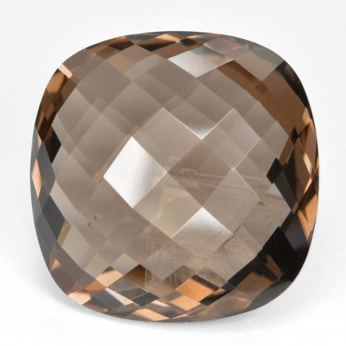 Medium Brown Cuarzo Ahumado Gema - 13.9ct Corte Cojín Checkerboard (ambos lados) (ID: 416795)