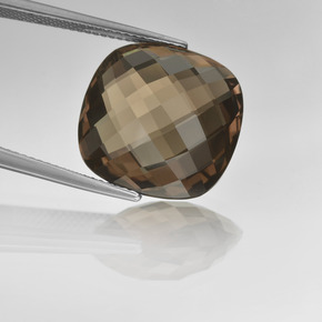 Brown Smoky Quartz Gem - 13.7ct Cushion Checkerboard (double sided) (ID: 416800)