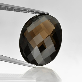 Brown Smoky Quartz Gem - 15.5ct Oval Checkerboard (double sided) (ID: 416880)
