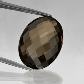 Dark Brown Smoky Quartz Gem - 13.5ct Oval Checkerboard (double sided) (ID: 416883)