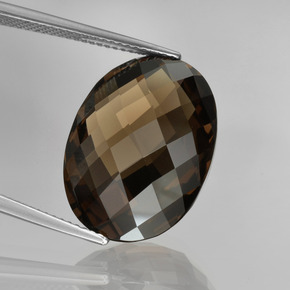 thumb image of 15.6ct Oval Checkerboard (double sided) Brown Smoky Quartz (ID: 416884)