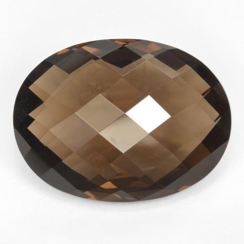 Brown Smoky Quartz Gem - 14.7ct Oval Checkerboard (double sided) (ID: 416939)