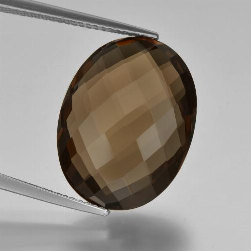 14.3ct Oval Checkerboard (double sided) Brown Smoky Quartz Gem (ID: 416940)