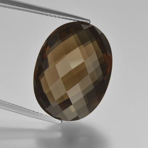 15.5ct Oval Checkerboard (double sided) Brown Smoky Quartz Gem (ID: 416942)