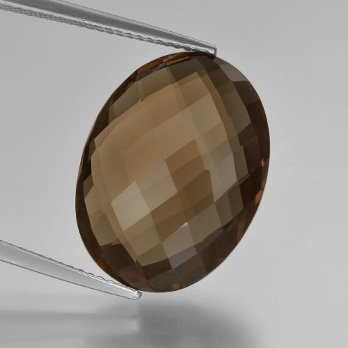 Chocolate Brown Smoky Quartz Gem - 13.1ct Oval Checkerboard (double sided) (ID: 416946)