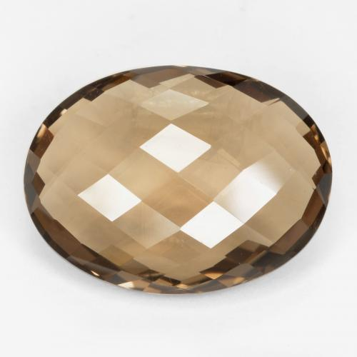 Medium Brown Smoky Quartz Gem - 14ct Oval Checkerboard (double sided) (ID: 416951)