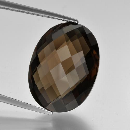 thumb image of 15.1ct Oval Checkerboard (double sided) Brown Smoky Quartz (ID: 416957)