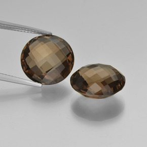 Brown Smoky Quartz Gem - 8.1ct Round Checkerboard (double sided) (ID: 417052)