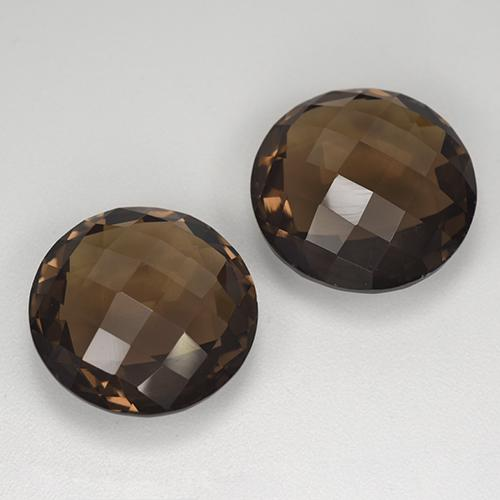 Brown Smoky Quartz Gem - 8.3ct Round Checkerboard (double sided) (ID: 417053)