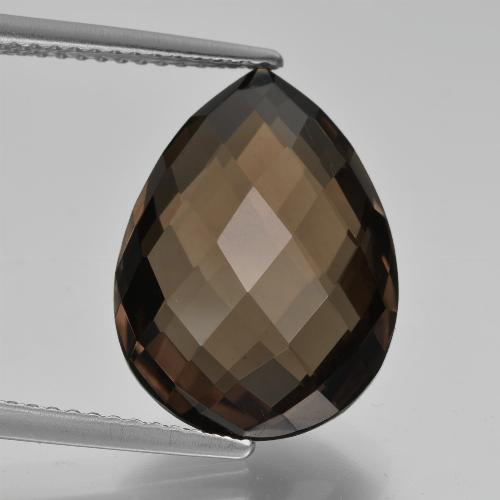 Brown Smoky Quartz Gem - 8.2ct Pear Double-Sided Checkerboard (ID: 417149)
