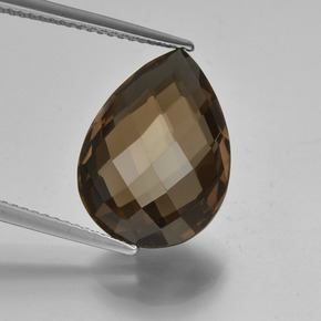 7.8ct Pear Double-Sided Checkerboard Brown Smoky Quartz Gem (ID: 417156)