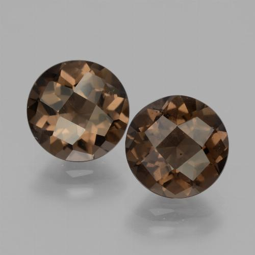 Brown Smoky Quartz Gem - 1.7ct Round Checkerboard (ID: 427956)
