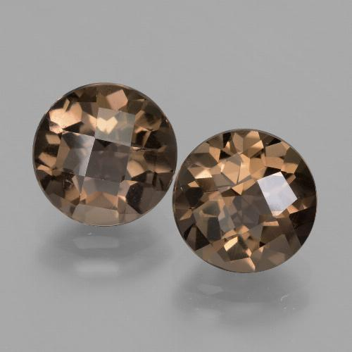 Medium Brown Cuarzo Ahumado Gema - 1.9ct Tablero de Ajedrez Redondo (ID: 427957)