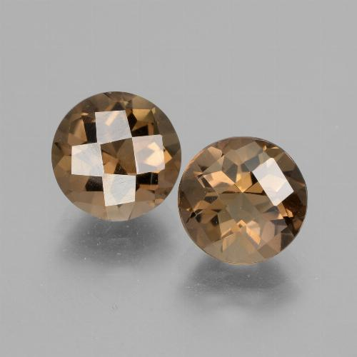 Chocolate Brown Smoky Quartz Gem - 1.7ct Round Checkerboard (ID: 428167)