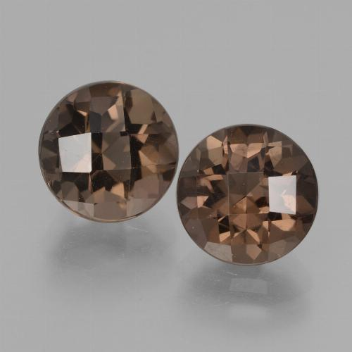 Medium Brown Smoky Quartz Gem - 1.9ct Round Checkerboard (ID: 428332)