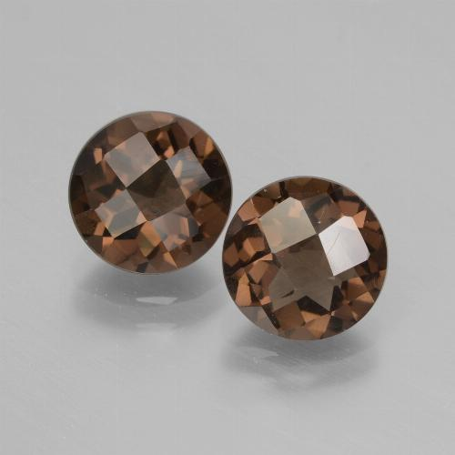Brown Smoky Quartz Gem - 1.7ct Round Checkerboard (ID: 428478)