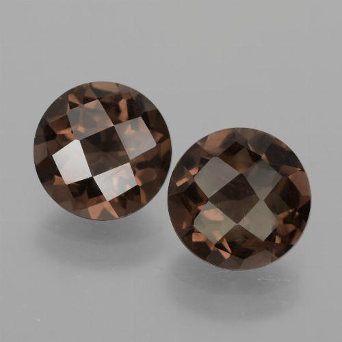 Medium Brown Smoky Quartz Gem - 1.8ct Round Checkerboard (ID: 428522)