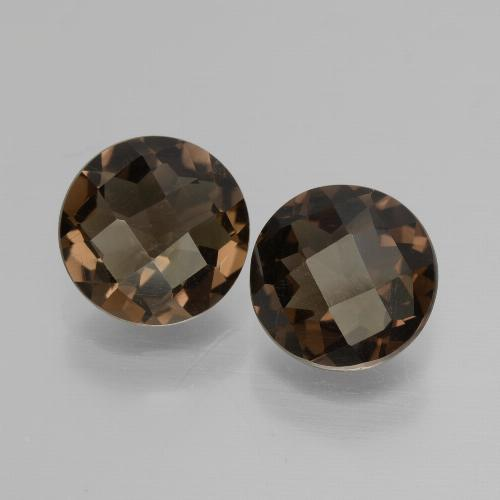 Brown Smoky Quartz Gem - 1.6ct Round Checkerboard (ID: 428573)