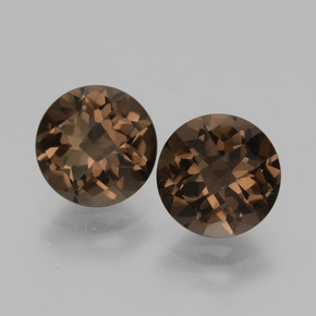 Brown Smoky Quartz Gem - 1.8ct Round Checkerboard (ID: 428578)