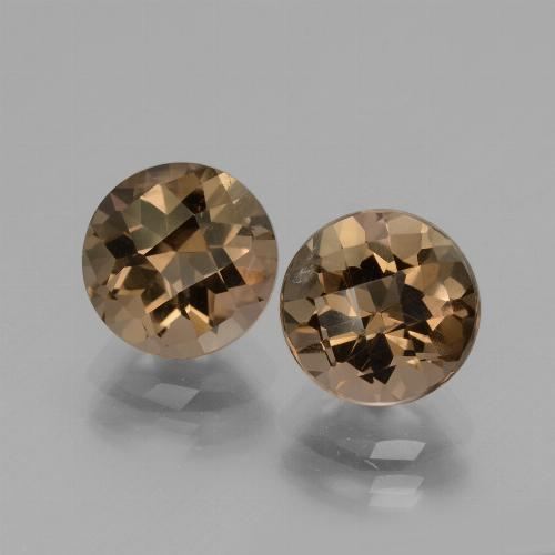 Brown Smoky Quartz Gem - 1.9ct Round Checkerboard (ID: 428600)